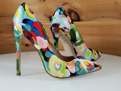 """Red Cherry Multi Floral Fruit Pointy Toe Pump Shoe 4.5/"""" Stiletto High Heels"""
