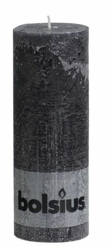 Bolsius Pillar Rustic Paraffin Wax Candle 77 Hour Burn 190 x 68mm Anthracite