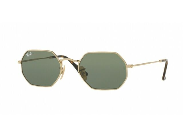 b0429705994a Ray-Ban Rb3556n 001 Octagonal Gold Frame Green Classic 53mm Lens Sunglasses