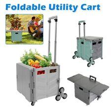 Folding Shopping Cart 55l Rolling Utility Trolley Cart Basket With Ladder Wheel