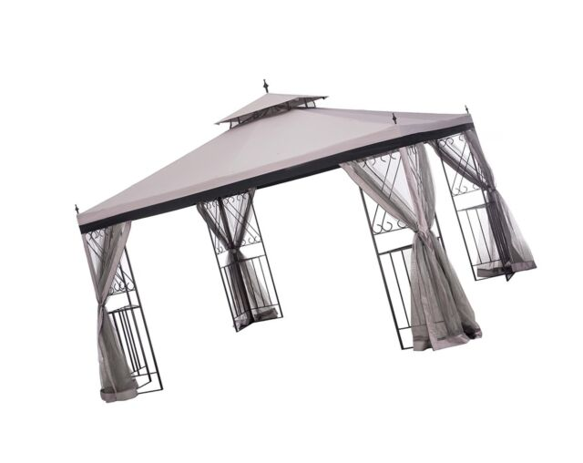 Sunjoy 10 X 12 Monterey Gazebo With Netting Gray Black