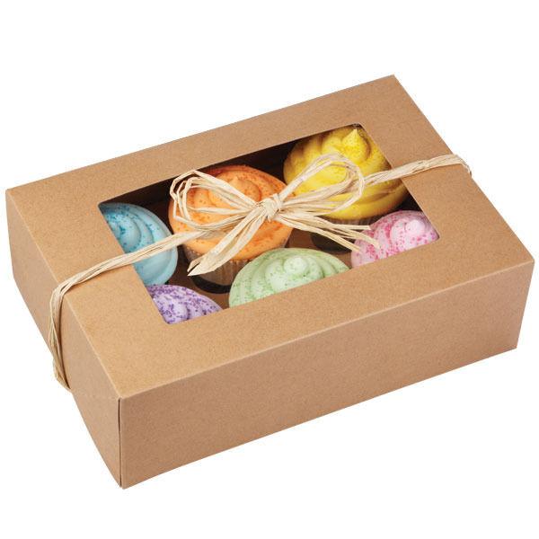 Cupcake Box Kraft 6 Cavity  2 ct from Wilton #0740 - NEW