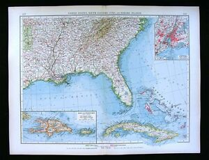 1900 Times Map United States Georgia Alabama Florida Cuba New York