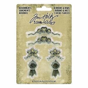 Tim-Holtz-idea-ology-Adornments-Ribbons-amp-Bows-Metal-Charm-Ornaments-6pc