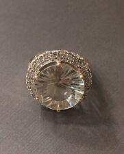 Large Green Amethyst & Diamonds 10KT Yellow Gold Ring