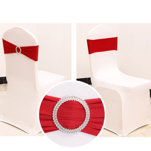50*Spandex Stretch Chair Cover Sashes Bows Band for Party Event Banquet Decor US