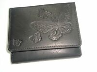 Butterflies Genuine Leather Wallet, Black