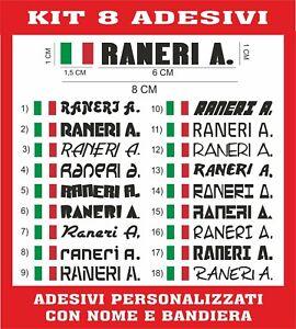 8 ADESIVI NOME  + BANDIERA PERSONALIZZATO BICI MOTO CASCO AUTO SCUOLA CASA B15