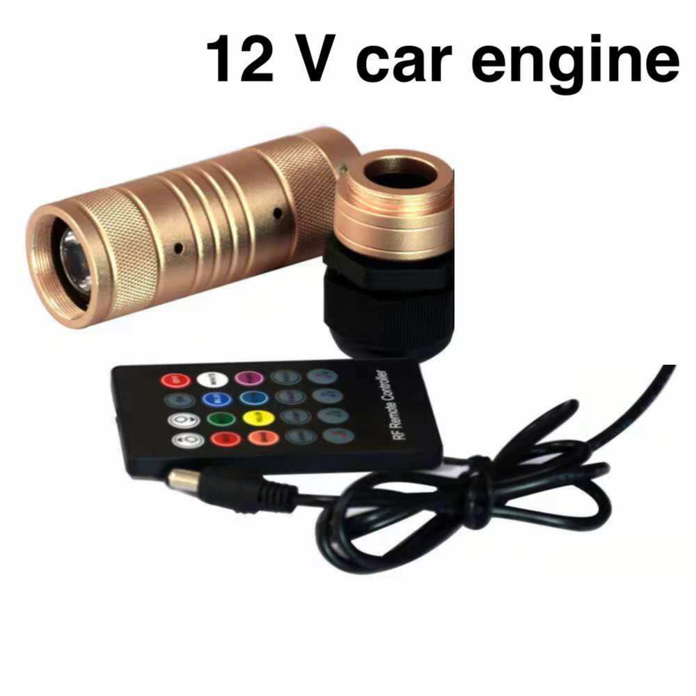 Motor de luz LED de fibra óptica coche RGB 12V, 7W-voz controlada + azultooth