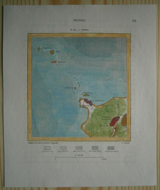 1884 Perron map TRIPOLI, LEBANON (#138)