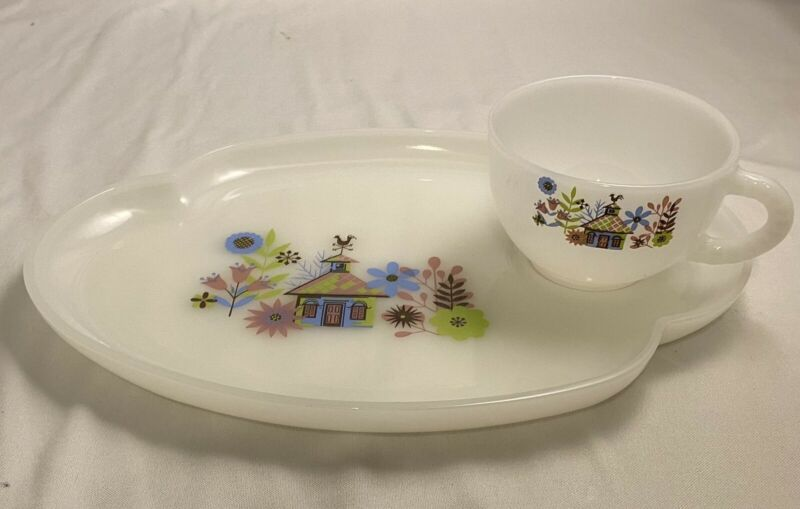 Vintage Tea Cup and Snack Tray Glass