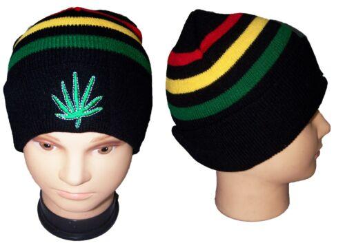Reggae Rasta Marijuana Weed  Cotton Beanies Caps Hats Embroidered Wca135 ^*