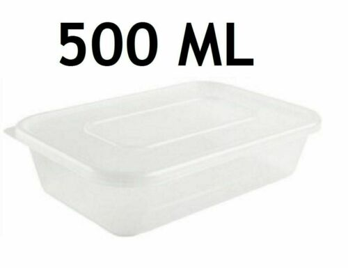 Plastic Containers Tubs Clear With Lids Microwave Food Safe Takeaway 500ML