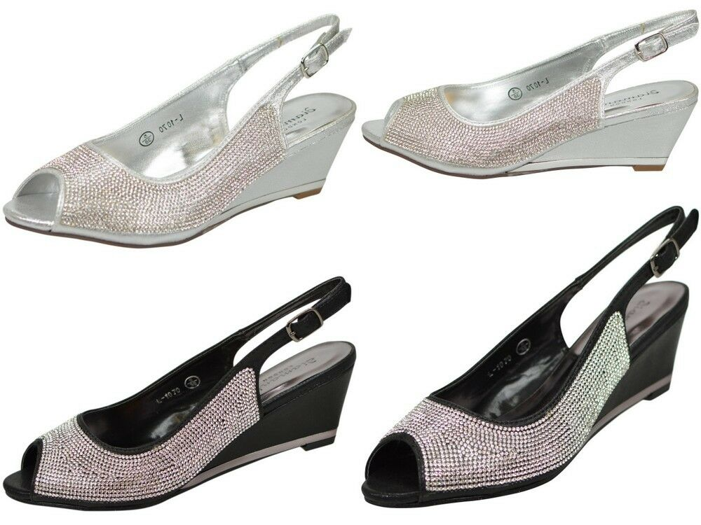 LADIES SILVER OR BLACK DIAMANTE PARTY PROM BRIDESMAID EVENING LOW WEDGE SANDALS