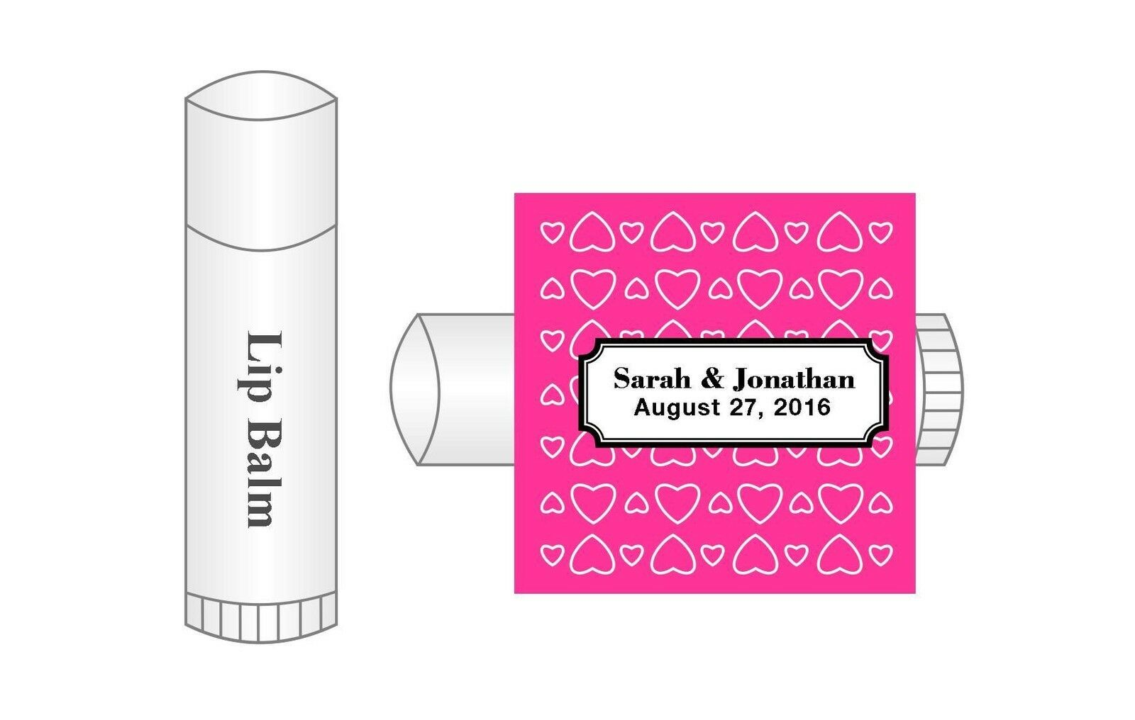 20 Personalized Lip Balm Hearts Glossy Wedding Favor Labels Stickers ...