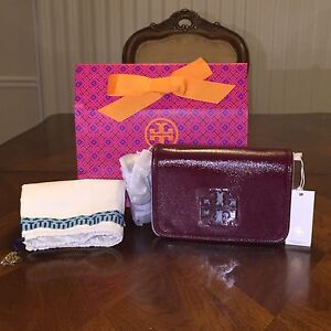ce0d9cd1522 NWT Tory Burch Britten Patent Combo Cross-body in Red Agate with ...