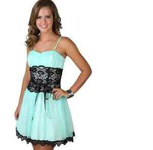 DEB Glitter Short Prom Dress Black and Silver with Lace Waist | eBay