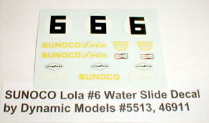 Sunoco Lola #6 Slot Car Water Slide Decals  Dynamic Models 5513 46911 NOS 1//24
