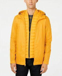 Details about $295 Tommy Hilfiger Men'S Yellow Quilted Packable Puffer Hooded Coat Jacket 2xl