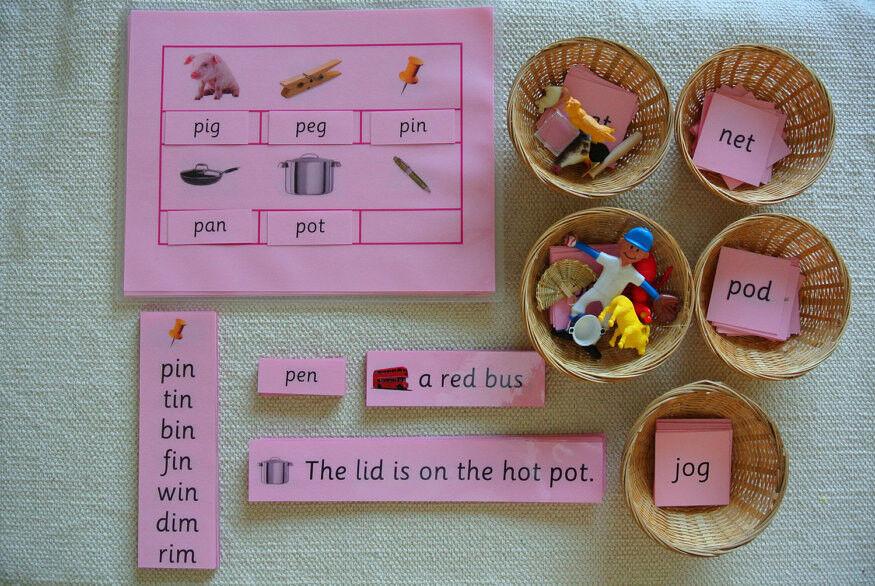 Montessori rose langue série Phonics Trousse éducative