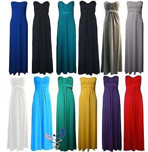 NEW-LADIES-KNOT-MAXI-DRESS-WOMENS-STRAPLESS-PLAIN-BANDEAU-MAXI-dress-All-Sizes