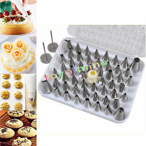 Cake Decorating Pastry Tips : 52pcs Icing Piping Nozzles Tips Set Cake Decorating Fondant Pastry eBay