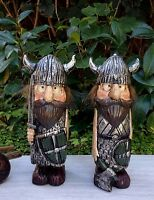 Miniature Dollhouse Fairy Garden Viking Village Pair Of Large Vikings Figurine