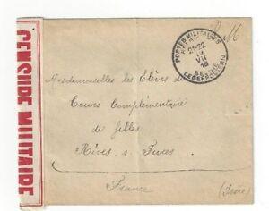 1918-Postes-Militaires-Belgique-WWI-militaire-a-Rives-S-Fure-France-censure