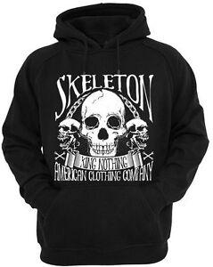 King-Nothing-Scheletro-Felpa-con-Cappuccio-Uomo-Donna-American-Rock-Metal-Goth