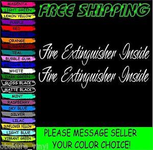 "(1pair) 2x10"" Fire Extinguisher Inside car truck vinyl decal sticker"