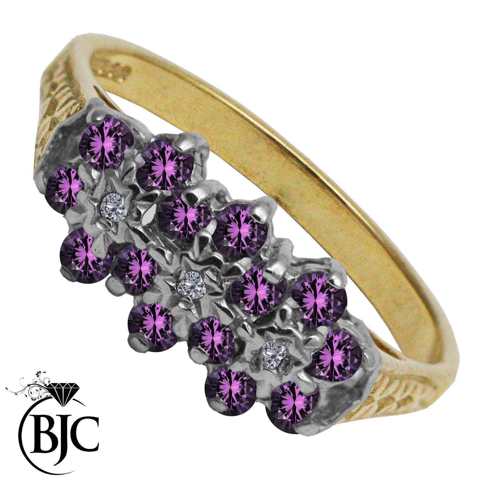 BJC® 9ct Yellow gold Amethyst & Diamond Triple Cluster engagement ring R264