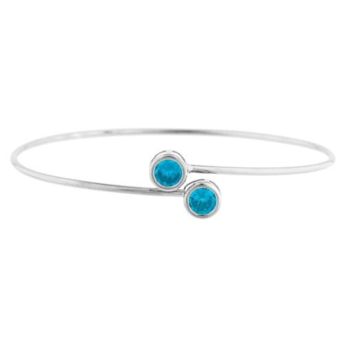 Or 14Kt suisse topaze bleue ronde Lunette Bracelet Jonc