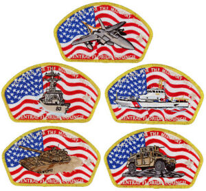 2017-Central-Florida-Council-Popcorn-Military-CSP-Patch-Badge-Set-BSA-Lot-FOS