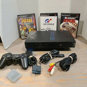 Sony-PS2-Fat-Playstation-2-with-Memory-Card-Controller-amp-3-Games-Tested-Works