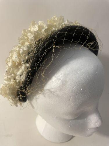 Vintage Black Veil Flower 40's 50's Hat Fastener