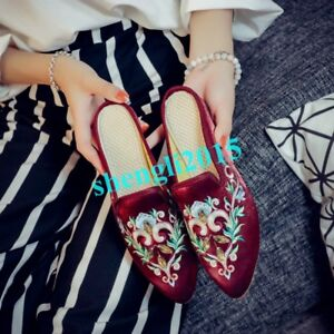 Womens-Embroidery-Floral-Pointy-Toe-Flats-Casual-Loafers-Slippers-Mules-Shoes-SZ