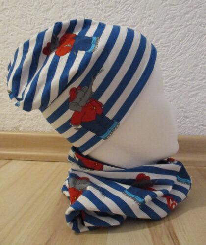 Benjamin Blümchen Halssocke für Baby Kleinkind Junge blau Set Beanie Mütze u