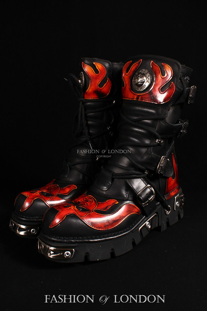 Unisex Gothic NEW ROCK 107-S1 Metallic Rojo Skull Negro Gothic Unisex Cyber Punk Leather botas 3cc927