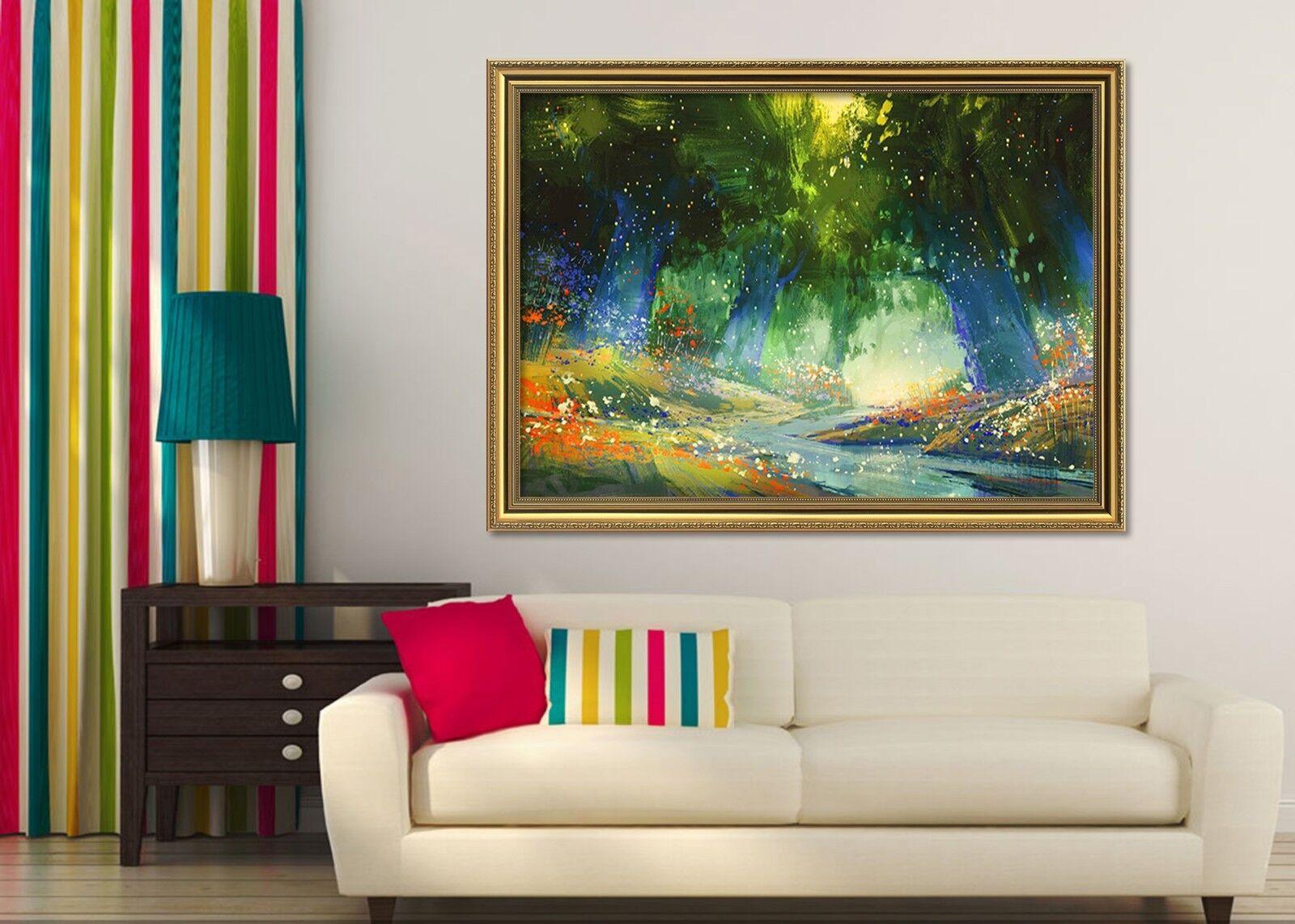 3D Forest Oil Painting 1 Framed Poster Home Decor Print Painting Art WALLPAPER