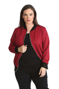 b2df1157a74 New Womens Plus Size Bomber Jacket Ladies Plain Ribbed Warm Zip ...