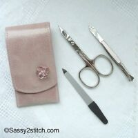 DOVO Complete Manicure Set Stainless Steel Tools with Zippered Leather Case