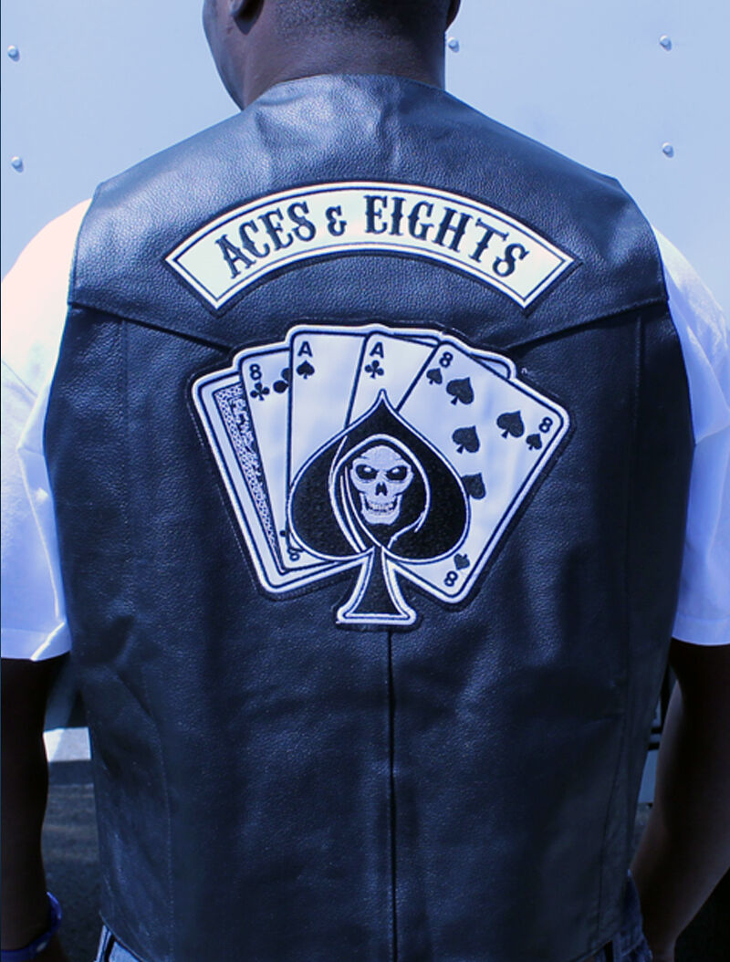 Official TNA Impact Wrestling Aces & Eights Real Leather Cowhide Biker Vest