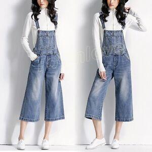 Pantalon Pantalon Salopette ample Jeans à Femmes bretelles Cowboy large Casual Denim qtU86xwFC