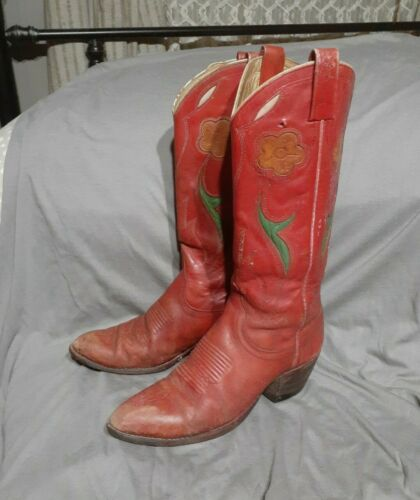 Ralph Lauren Tan Flower Red Leather Cowboy Boots V