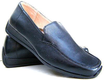 Mocasines cuero forrados con negro de mujer niña Cuña Trabajo Mocasines Zapatos Tallas UK 3 4