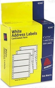 avery 4146 white address labels continuous form 4 x 1 7 16 dot