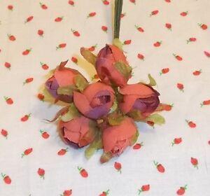 SALMON millinery Vintage style 6 silk ROSE BUD fabric flowers ALEXANDER dolls
