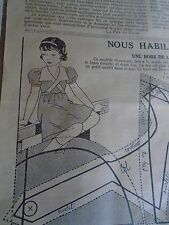 """PATRON ORIGINAL POUR LA POUPEE """" BLEUETTE JOLIE PETITE ROBE NOVEMBRE 1936"""