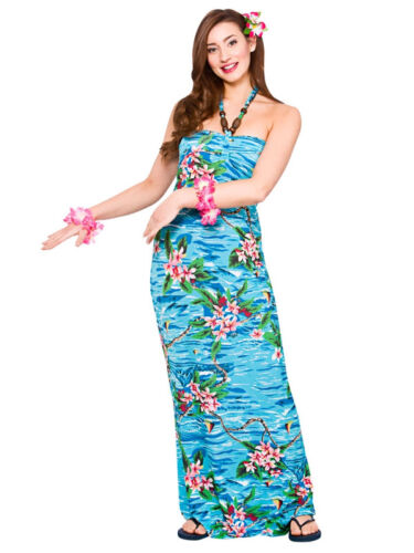 Ladies Hawaiian Maxi Fancy Dress Beach Orchid Palm Tree Summer Aloha Hula 10-24