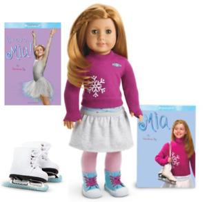 American-Girl-18-034-MIA-DOLL-In-MEET-OUTFIT-ICE-SKATES-BOOKS-Hazel-Eyes-Long-Hair